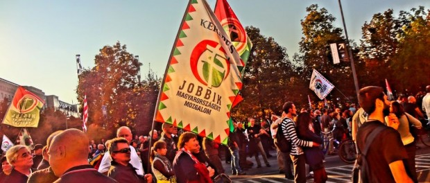 Manifestación de Jobbik, celebrada el 23 de octubre de 2012 en Budapest. Fuente: wikipedia