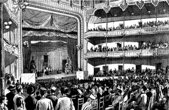 Interior del Teatro Circo Barcelonés durant la celebració del I Congrés Obrer Espanyol 1870). Lloc de celebració del II míting de la SAT. Font: Barcelofília.